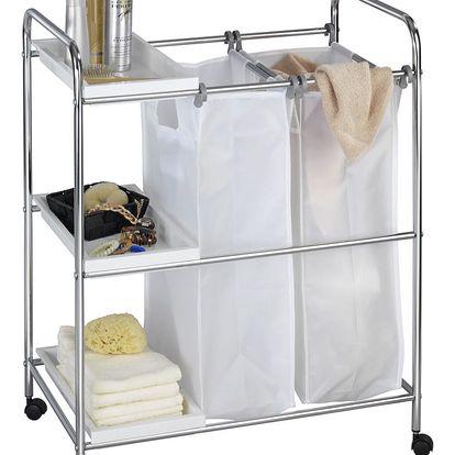 Koš na prádlo, 2 komory ARONA - vozík, 3 úrovně, WENKO