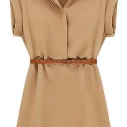 Letní košilové šaty - béžová, velikost 4 - dodání do 2 dnů