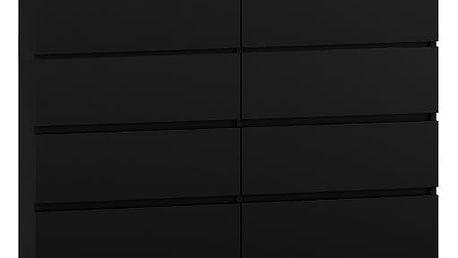 Komoda 8 šuplíků Malva 120 černá