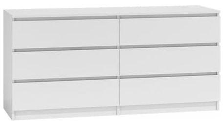 Komoda 6 šuplíků Malva 140 cm Bílá