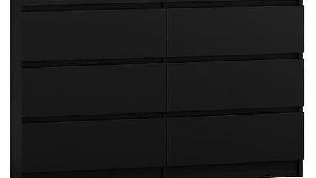 Komoda 6 šuplíků Malva 120 černá