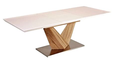 Jídelní stůl rozkládací ALARAS sonoma/bílá 160(220)x90 cm