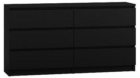 Komoda 6 šuplíků Malva 140 černá
