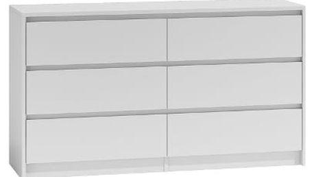 Komoda 6 šuplíků 140 cm Bílá