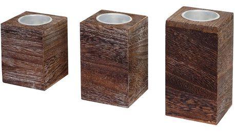 Sada 3 dřevěných svícnů Mendler Shabby Teave