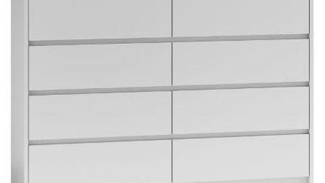 Komoda 8 šuplíků 140 cm Bílá