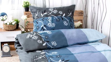 XPOSE ® Bavlněné povlečení na dvě lůžka ADINA - modrá 140x200, 70x90