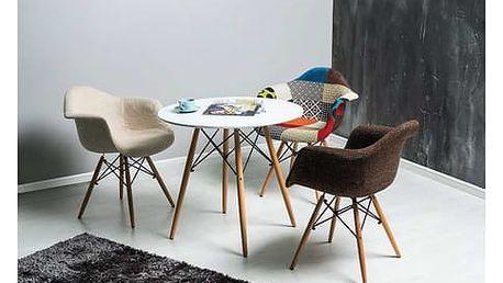 Stůl Soho bílá/buk 80 cm