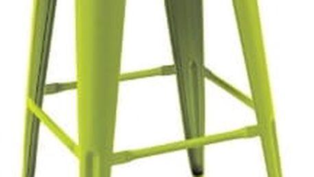 Barová kovová židle LONG tmavě zelená