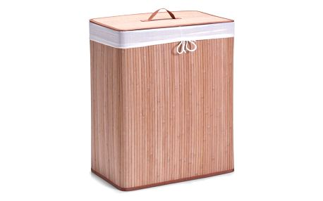Obdélníkový koš na prádlo, oděvy, kontejner, světle hnědá barva, 2 komory, 104 l, ZELLER