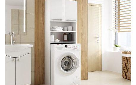 Skříňka do koupleny s možností uložení pračky bílá