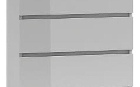 Komoda 5 šuplíků Bílá lesklá
