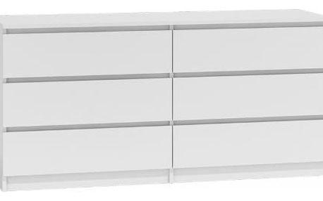 Komoda 6 šuplíků Malva 120 cm Bílá