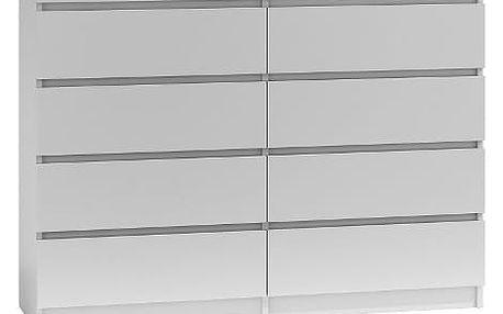 Komoda 8 šuplíků Malva 140 cm Bílá
