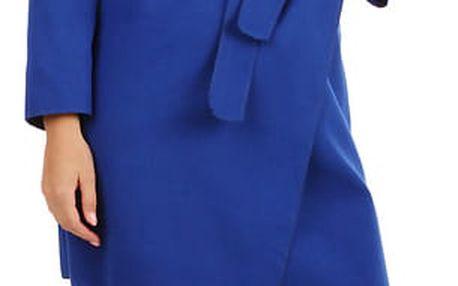 Zavinovací dámský kabát s páskem modrá