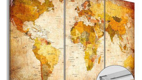 Vícedílná nástěnka s mapou světa Artgeist Antique Travel, 120x80cm
