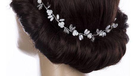 Svatební ozdoba do vlasů - čelenka Stříbrné kytky s krystalky do vlasů