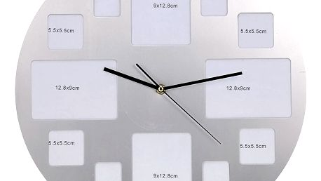 Nástěnné hodiny s 12 fotorámečky, chromované, ⌀ 40 cm Emako