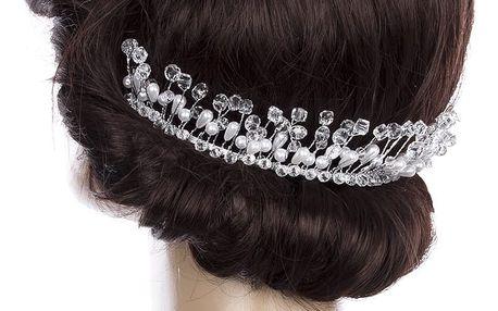 Svatební ozdoba do vlasů - čelenka Diamond krystalky a perly do vlasů