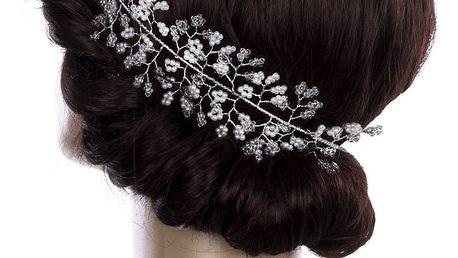 Svatební ozdoba do vlasů - čelenka Stříbrná větvička velká s perly a krystalky