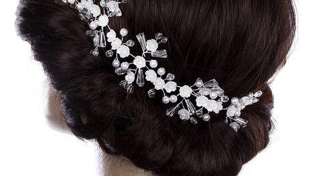 Fashion Icon Svatební ozdoba do vlasů - čelenka Crystal Flowers s krystalky a perly