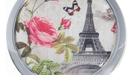 Kapesní kulaté zrcátko Paris Summer kovové růže