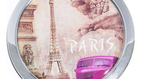 Kapesní kulaté zrcátko Paris Summer kovové fialové auto