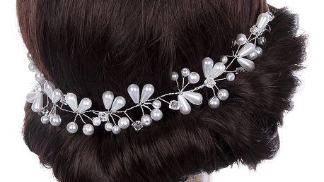 Svatební ozdoba do vlasů - čelenka Flowers s krystalky