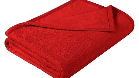 Bellatex Jednobarevná deka Korall micro červená, 150x200 cm