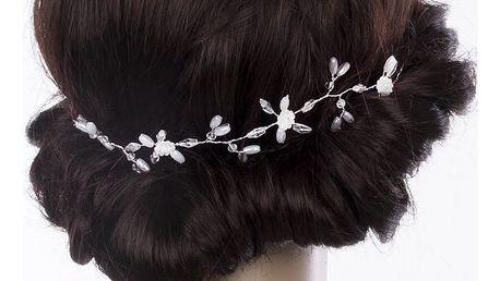 Svatební ozdoba do vlasů - čelenka Silver větvička s perly a krystalky