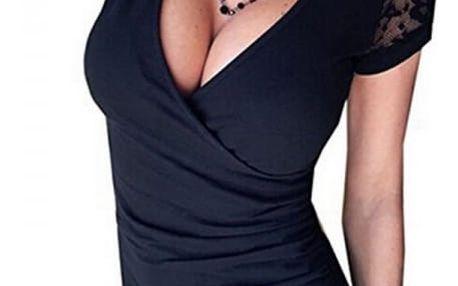 Dámské tričko s hlubokým výstřihem a krajkovými rukávy - 3 barvy
