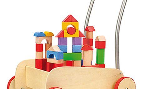 Vozík s dřevěnými kostkami na hraní Legler Walker