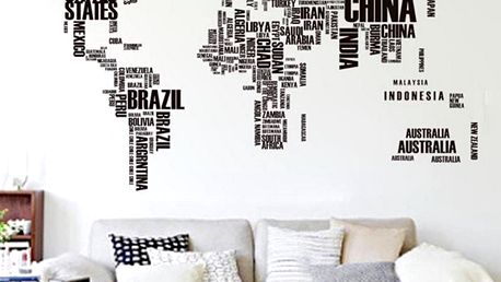 Samolepicí dekorace Mapa světa z písmen