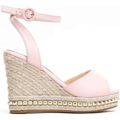 Dámské růžové sandály na klínku Carlita 2084