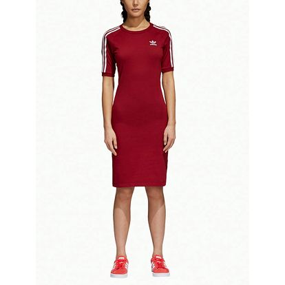 Šaty adidas Originals 3 Stripes Dress Červená