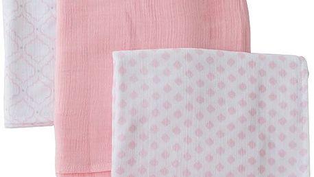 SUMMER INFANT SwaddleMe mušelínová přikrývka 3ks růžová sada