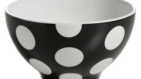 Sada 4 černých porcelánových misek Maxwell&Williams Polka Dot, ⌀15 cm