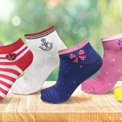 Barevné bambusové ponožky v balení po 6 párech
