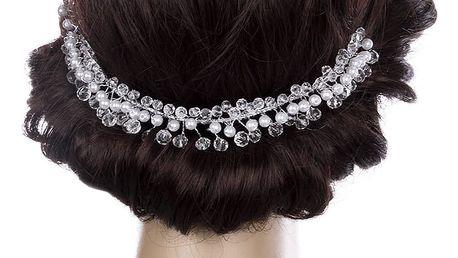 Svatební ozdoba do vlasů - čelenka Diamond crystal krystalky a perly do vlasů