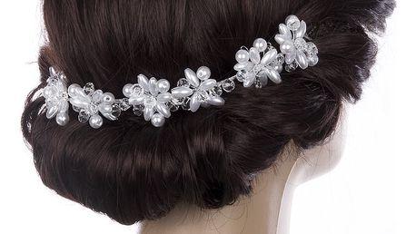 Svatební ozdoba do vlasů - čelenka velké krystalky a perly do vlasů