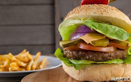 Zvěřinový burger, hranolky a domácí tatarka