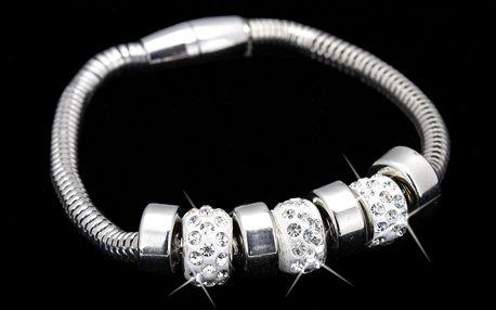 Fashion Icon Náramek White Crystal s přívěsky