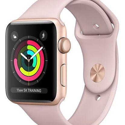 Chytré hodinky Apple Watch Series 3 GPS 42mm pouzdro ze zlatého hliníku - pískově růžový sportovnm řemínek (MQL22CN/A) + DOPRAVA ZDARMA
