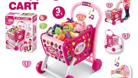 G21 51928 Hračka Nákupní košík s melodií s příslušenstvím růžový