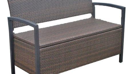 Tmavě hnědá zahradní lavice s úložným prostorem ADDU Ferrara