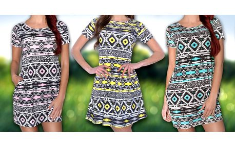 Letní šaty s aztéckým vzorem