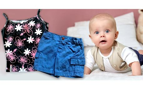 Dětské letní oblečení: Kraťasy, tílka a klobouk