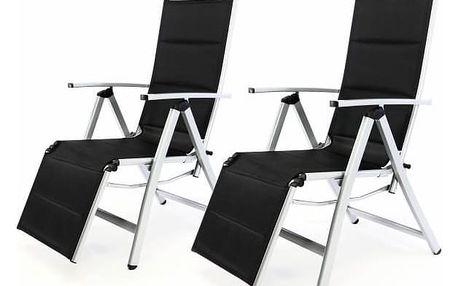 Garthen DELUXE 35365 Sada 2 ks zahradní polohovatelných židlí s opěrkou nohy - černá