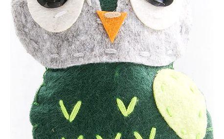 Fashion Icon Brož sova zelená tkanina HAND MADE ruční práce