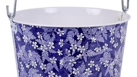 Modrý kbelík s květy Esschert Design Sandy